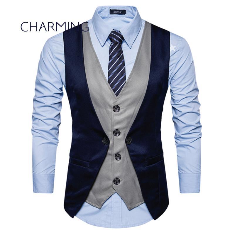 Mens Vest Jacket Fashion Hit Color Fake Two Designs Sleeveless Vest