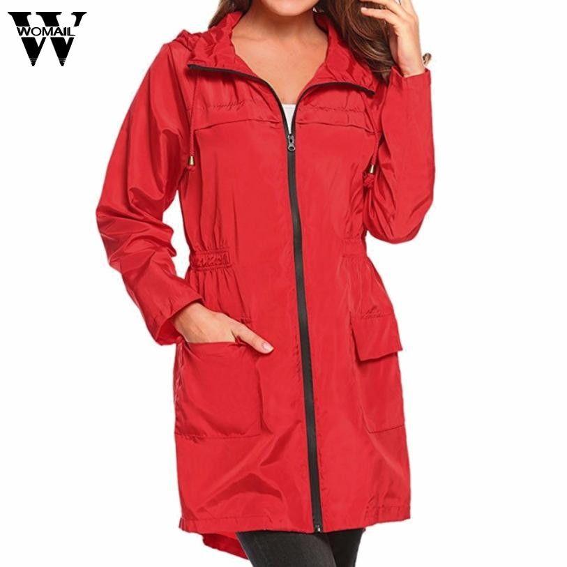 7f55a39927b 2019 2018 Winter Coat Women Plus Size Solid Long Lightweight Travel  Waterproof Raincoat Hoodie Windproof Coat Jacket JAN8 From Candycloth