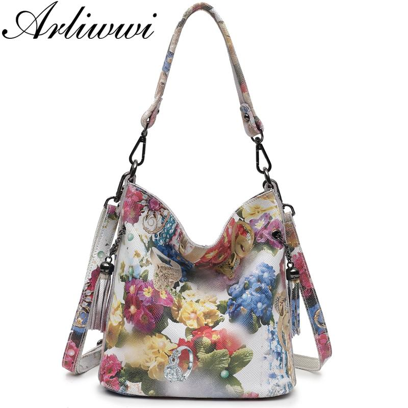 Arliwwi Brand High Class Shiny Floral REAL LEATHER Women Handbags Bags  Fashion 2018 New Genuine Cow Leather Blossom Designer Bag Y18102603 Reusable  Shopping ... 6464ef93afbc5