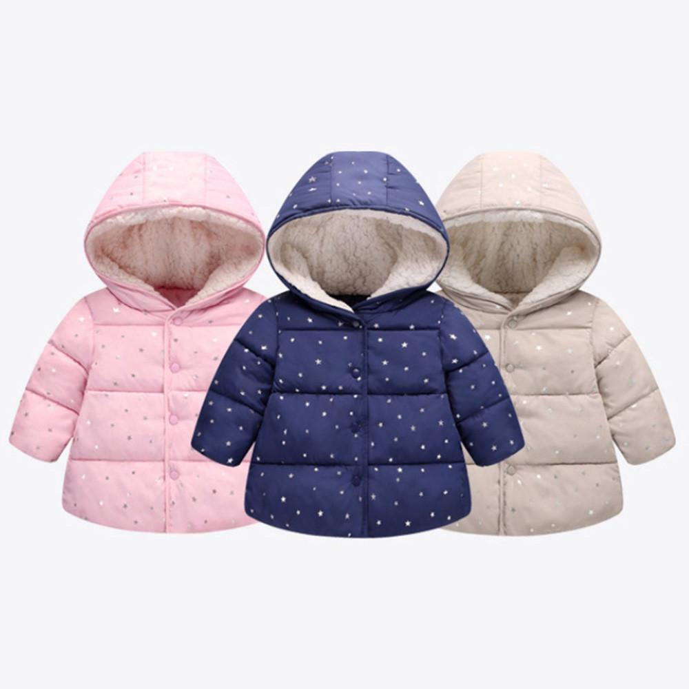1590735e0 2018 baby boy Girl clothes Toddler Autumn Winter Hooded Coat Cloak Jacket  Thick Warm Fashion Star Clothes drop shipping AUG29