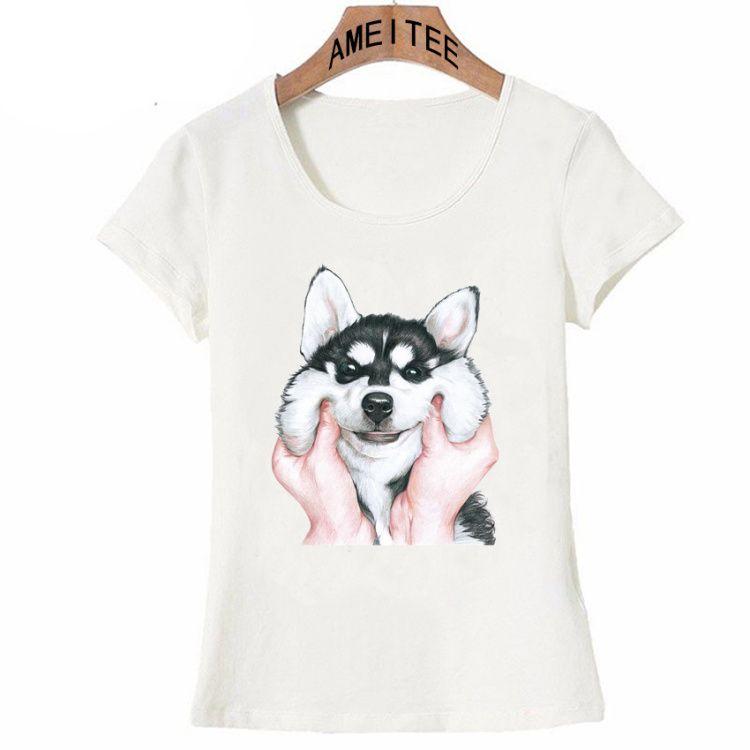 df51ff1752ac Новая летняя мода женщины футболка симпатичные Сибирский хаски довольно ...
