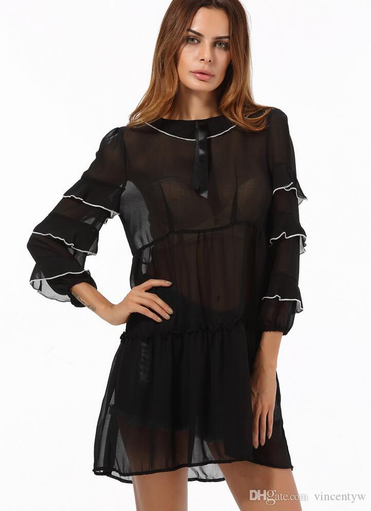 New Women Lace Dress Casual Long Black Short Sleeve O Neck See ... 287a56edc