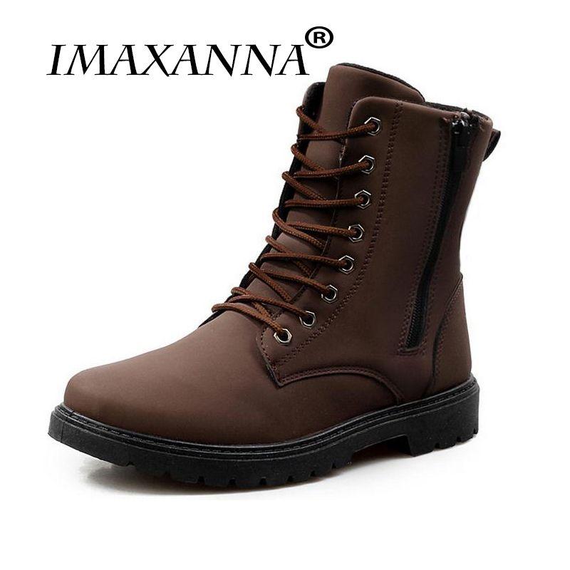99d9657f6b Compre IMAXANNA Marca Super Quente Dos Homens Botas De Couro De Inverno  Ankle Boots Homens Sapatos Casuais Homens De Borracha De Neve À Prova D   Água De ...
