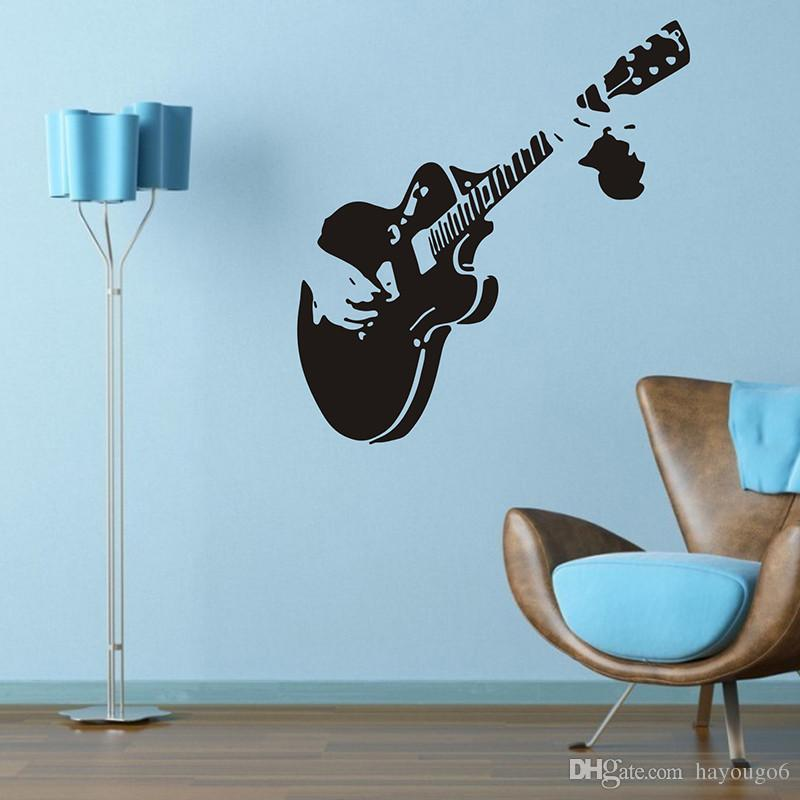 3d Guitar Wall Sticker Home Stickers Double Sided Visual Design Bathroom  Room Decoration Pvc Decals Art Sticker Wholesale Wall Art Wall Decals Wall  Art Wall ...
