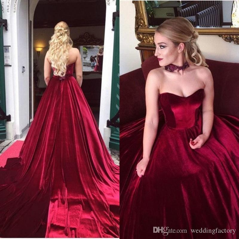 715c1899dc6 2019 Dark Red Velvet Prom Dresses Sweetheart Sleeveless Lace Appliques  Choker Long Formal High Quality Evening Party Gowns Court Train Orange Prom  Dresses ...