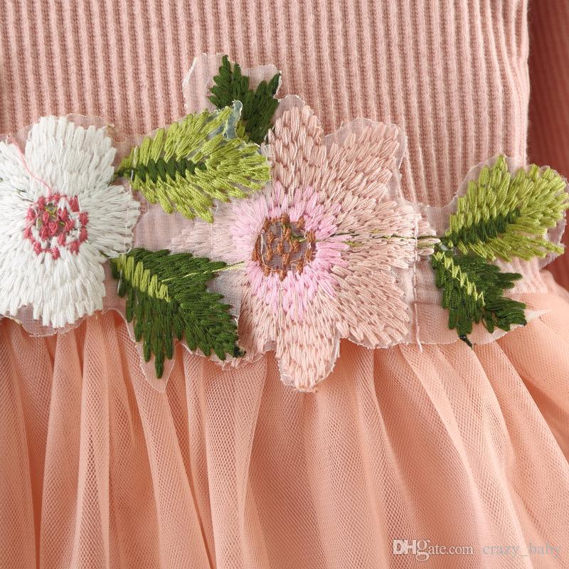 Kleinkind Baby Mädchen Kleidung Baumwolle Langarm Nähte Kleid Prinzessin Mädchen Blumenkleid