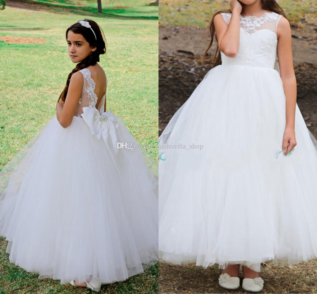 White Princess Ball Gown Flower Girl Dresses Jewel Backless Lace Bow