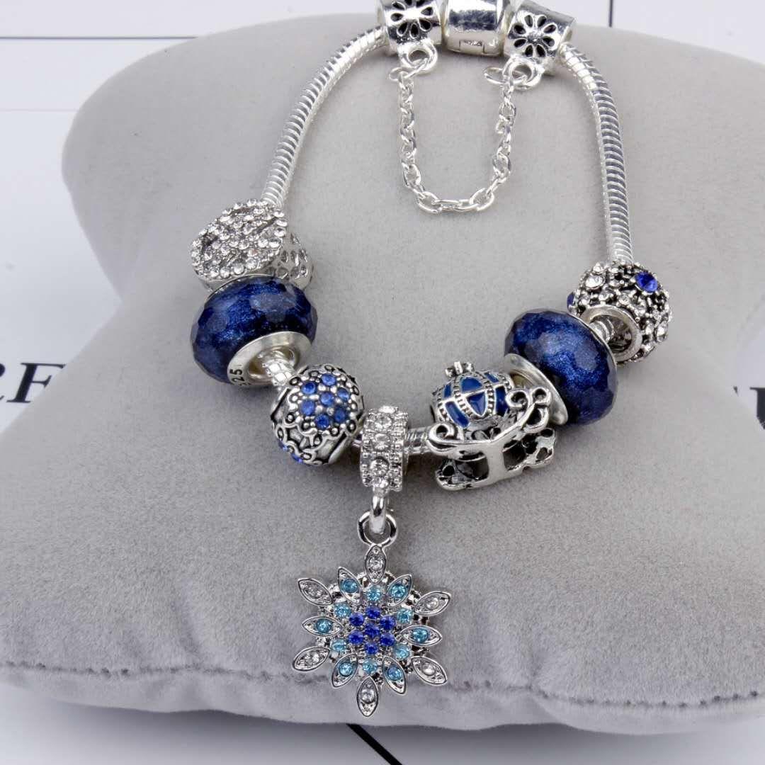 Charm Perlen Armband 925 Silber Pandora Armbänder Schneeflocke Anhänger Armreif Charm blauen Himmel Kürbis Warenkorb Perle als Geschenk Diy Schmuck mit Logo