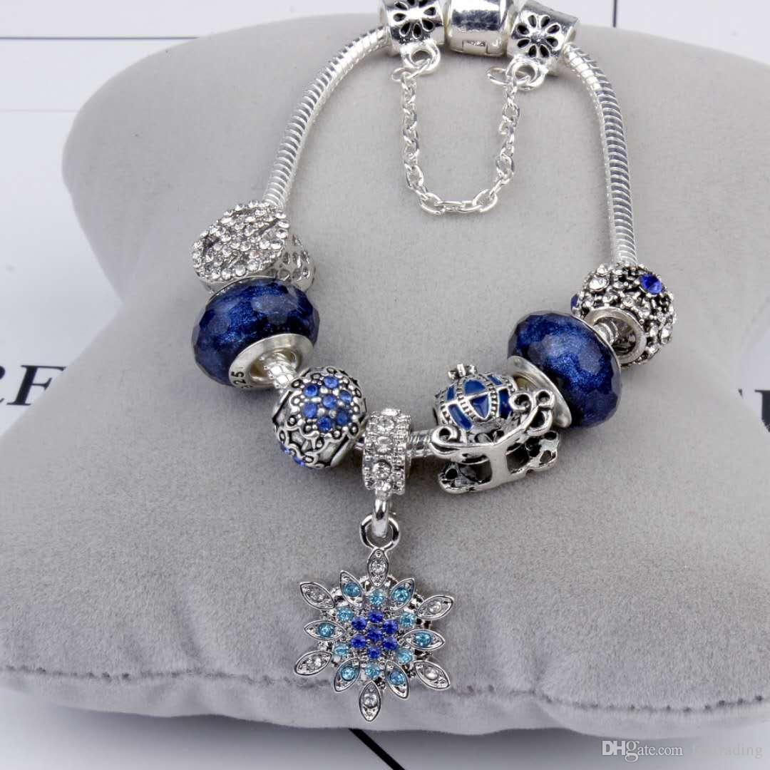 Encanto de los granos aptos para la joyería 925 pulseras de plata del copo de nieve colgante brazalete cielo azul carro de la calabaza encantos de la joyería de DIY con la caja de regalo