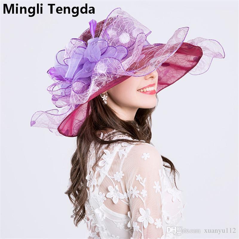 Hight Quality Organza and Fascinator Wedding Hats for Women Elegant Exaggeration Weddings Flower Hats chapeau de mariage Wedding Accessories