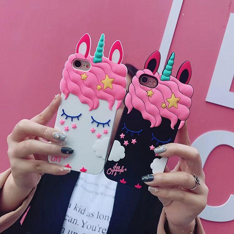3D Unicornio Funda de silicona para Iphone XS MAX XR X 8 7 Plus 6 6S Sonrisa Amante Lindo de la historieta Cubierta del teléfono celular Unicornio Animal Lindo estampado