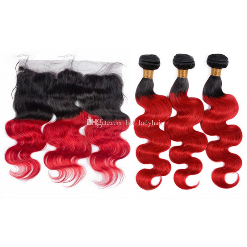 8A Ombre Red Human Hair Bundles with Frontal Closure Two Tone 1B/Red Body Wave Ombre Human Hair Weaves with Lace Frontal