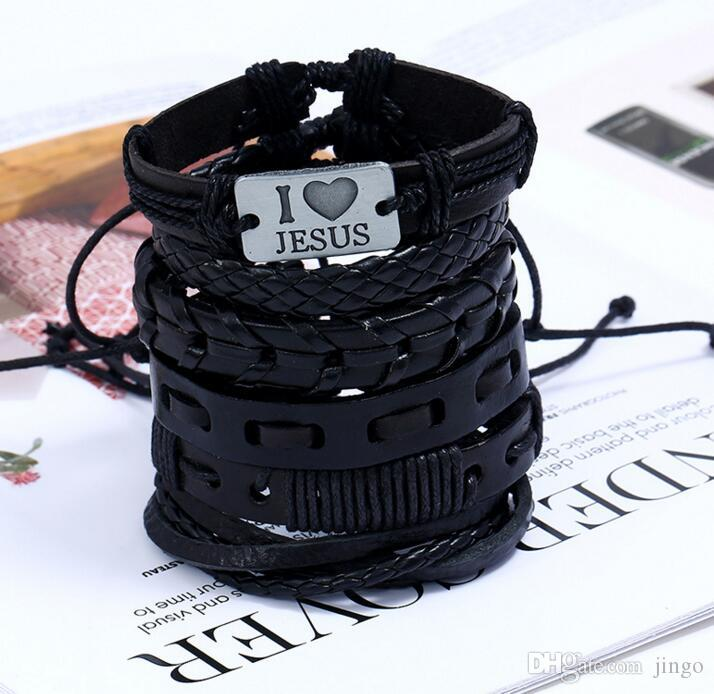 mens Punk couro vintage trança corda charme pulseira Eu amo Jesus DIY combinação pulseira definir o favor de partido NT