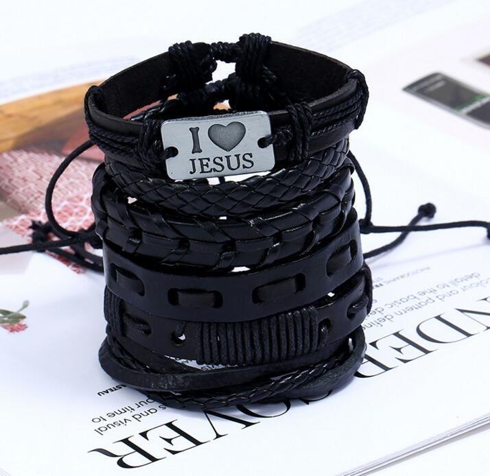 Mens Punk Vintage Geflecht Leder Seil Bettelarmband I Liebe Jesus DIY Kombination Armband Partei-Bevorzugung NT