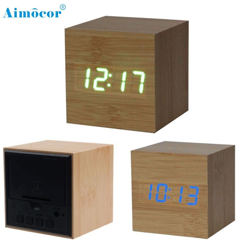 e91bb43b4 2019 Manufacturers Wholesale Hot Wooden Led Alarm Clock Sound Control Wood  Alarm Clock Creative Cute Electronic Wooden Wall From Rudelf