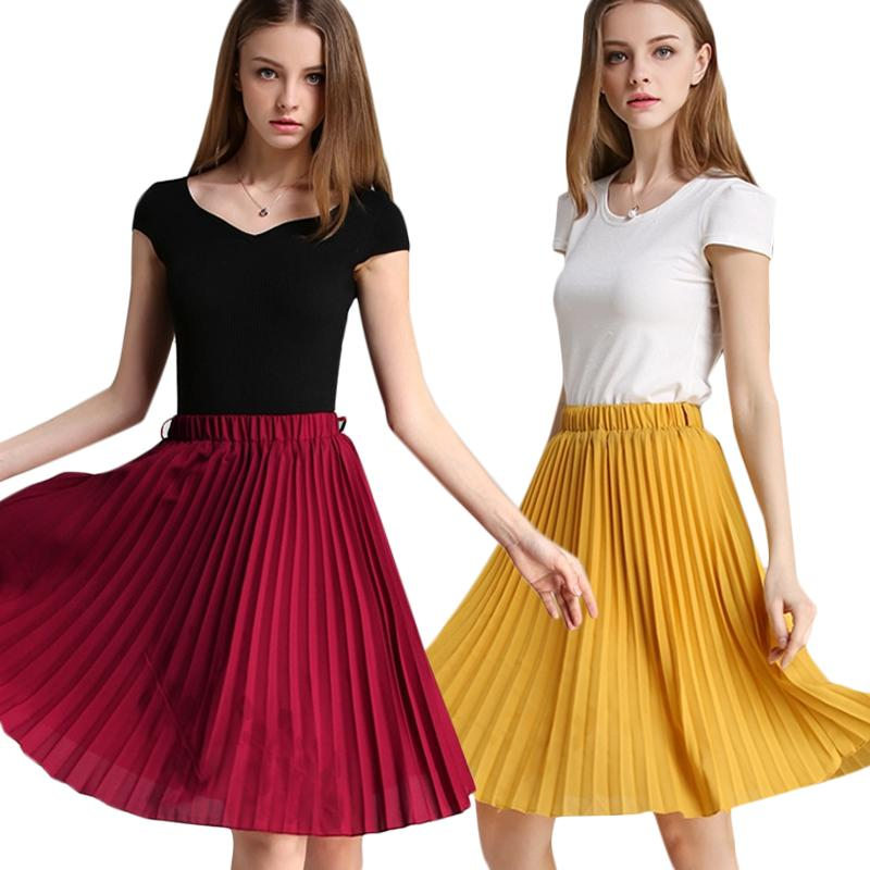 4280c4f14a833b 2019 Women Chiffon Pleated Solid Skirt Vintage High Waist Tutu Skirts Womens  Saia Midi Rokken 2018 Summer Style Jupe Femme Skirt From Lookpack