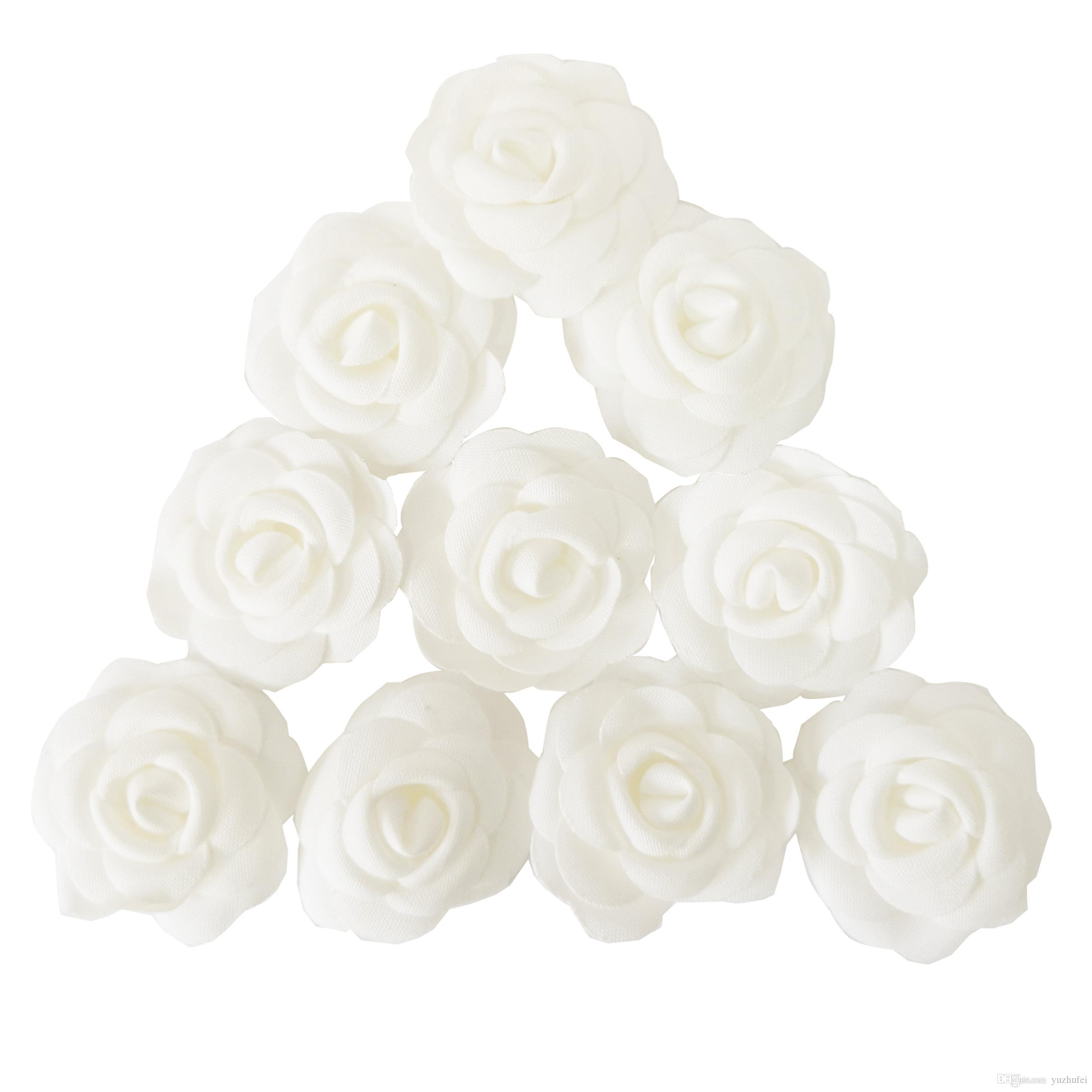 Online Cheap Fabric Flower Diy Material Camellia White Flower With