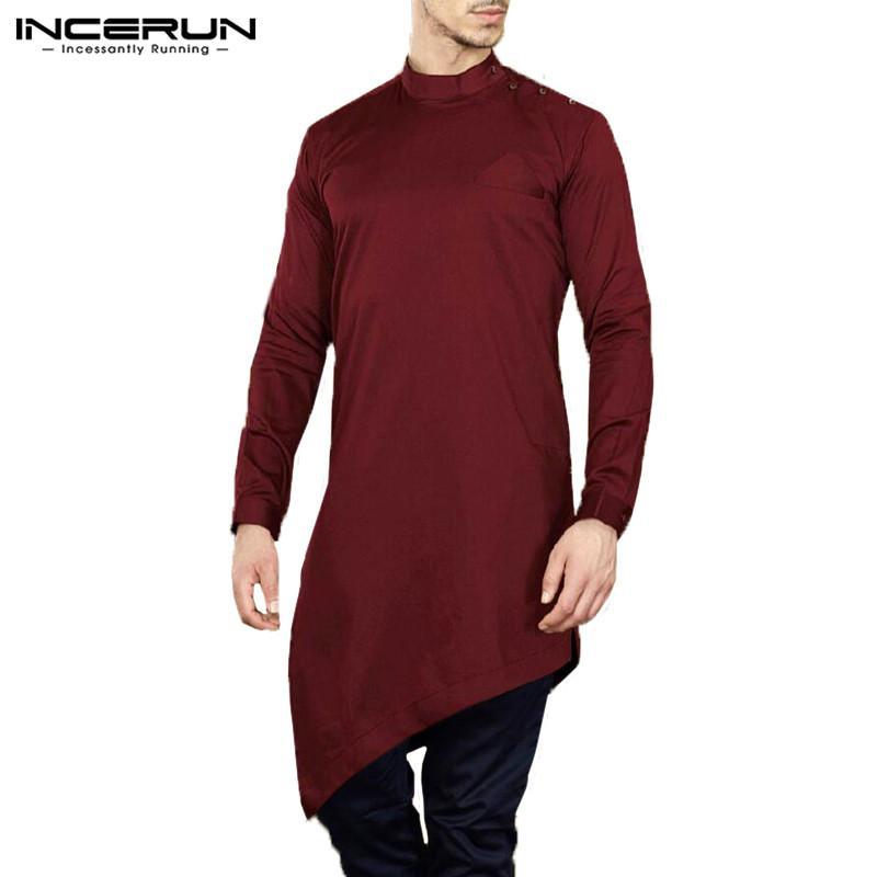753d6c2f5e Compre INCERUN Camisa De Hombre Traje Kurta Manga Larga Musulmana Islámica  Ropa Hombre Tops Irregular Hem Estilo Nepal Camisas Largas Hombre Más  Tamaño A ...