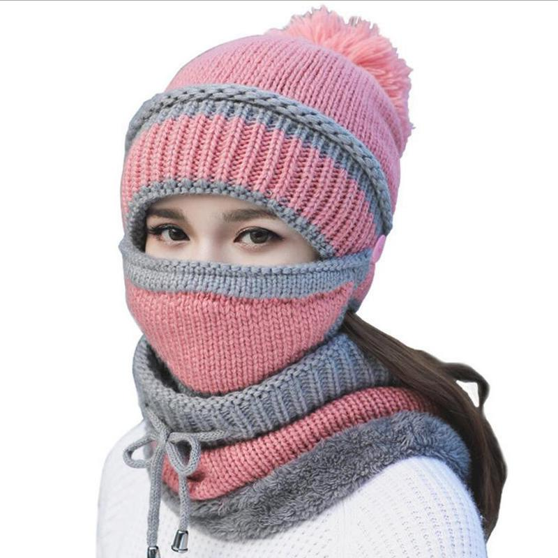 a6b6f8eff08d9 2018 Women Hat Scarf Winter Sets Cap Mask Collar Face Protection Girls Cold  Weather Accessory Women Ball Caps Scarf Knitted Wool D18110102 Skull Caps  ...