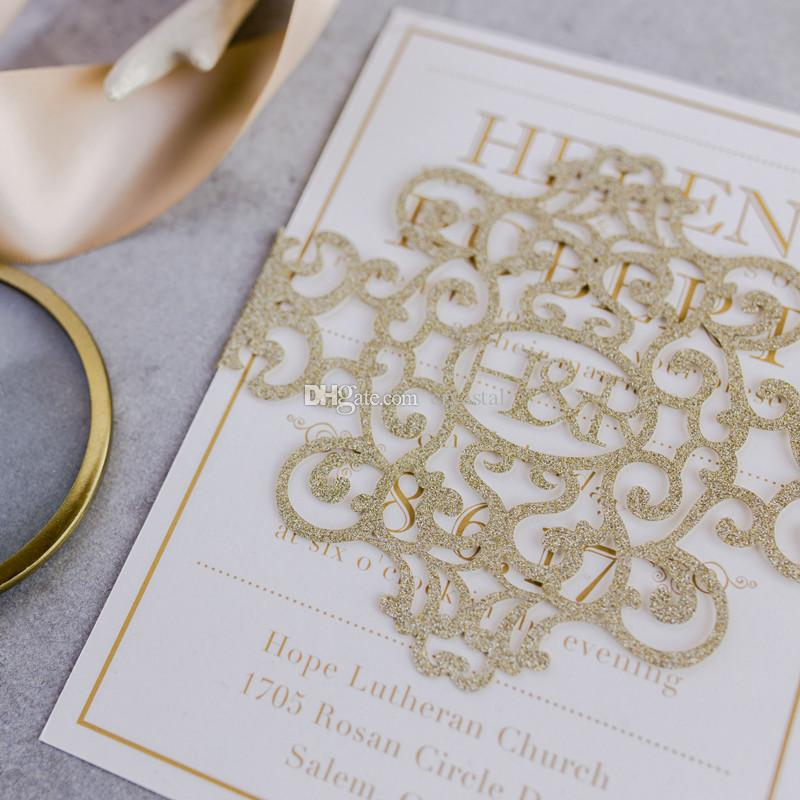 2018 Modern Champagne Glitter Monogram Laser Cut Belly Band Wedding Invitation , Free Printable With White Envelope