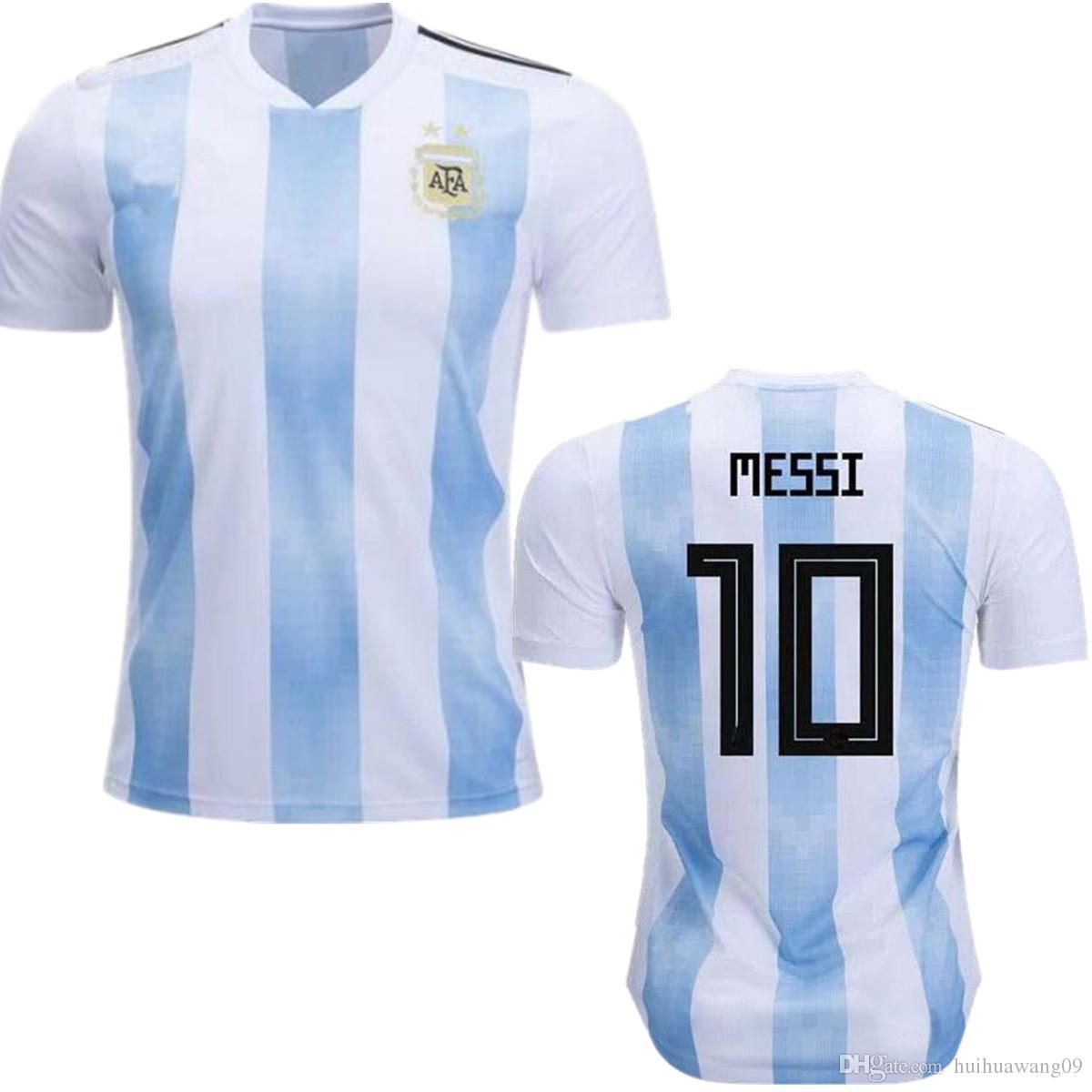 2a6a6d381a Compre 2018 2019 Copa Do Mundo Seleção Nacional Argentina Camisolas De  Futebol Em Casa Kit   10 MESSI 18 19 MESSI JERSEY Adultos FUTEBOL CAMISAS  Camisa ...