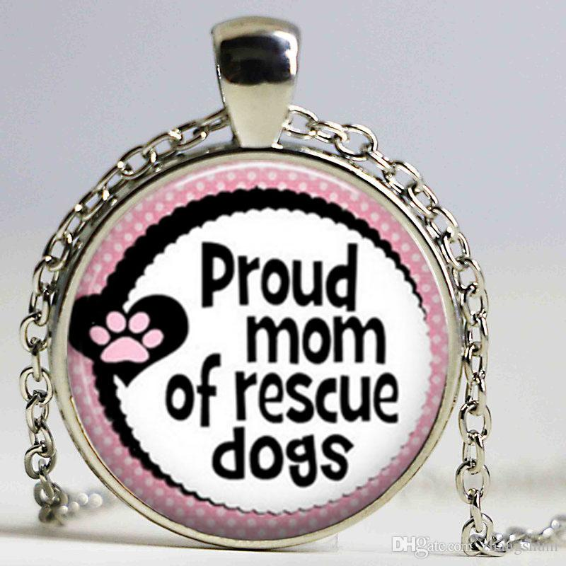 New Fashion Glass Cabochon Dome Pendant Quote Pendant Necklace Quote Dog Rescue Necklace Girls Glass Cabochon Necklace
