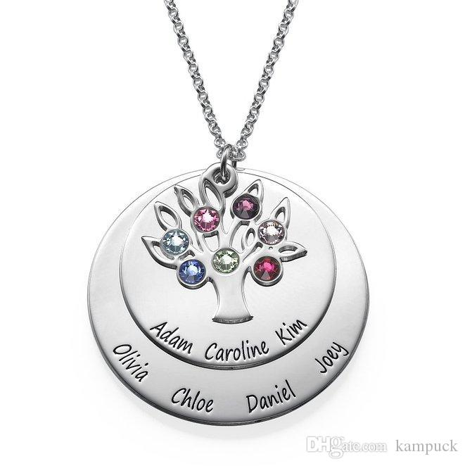 78b35ed261a6 Wholesale Wholesale Personalized Family Tree Pendant With Birthstones  Personality Birthstone Necklaces Custom Made Any Name YP2548 Aquamarine  Pendant ...