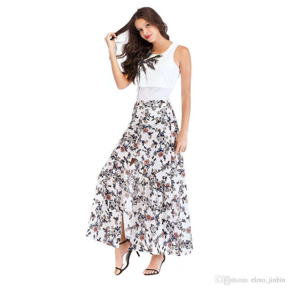 03b28c2d44 2019 Women White Irregular Long Skirt 2018 Summer Boho Vintage Floral Print  Side Slit Wrap Maxi Skirt Girl Waist Skirts Female 1831 From Elmo_jinbin,  ...