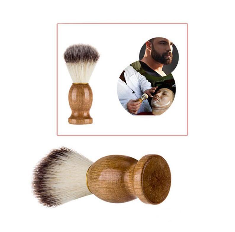 فرشاة الحلاقة الغرير الشعر الرجال حلاقة صالون الرجال الوجه اللحية تنظيف الأجهزة حلاقة أداة الحلاقة فرشاة مقبض الخشب للرجال