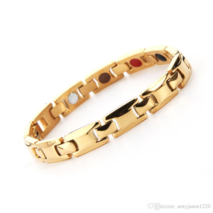 e0bd1a378e24 Classical Full Gold Magnetic Bracelet High Power Therapy Magnets Solid Stainless  Steel Jewelry For Energy Balance Magnetic Therapy Treatment Magnetic ...