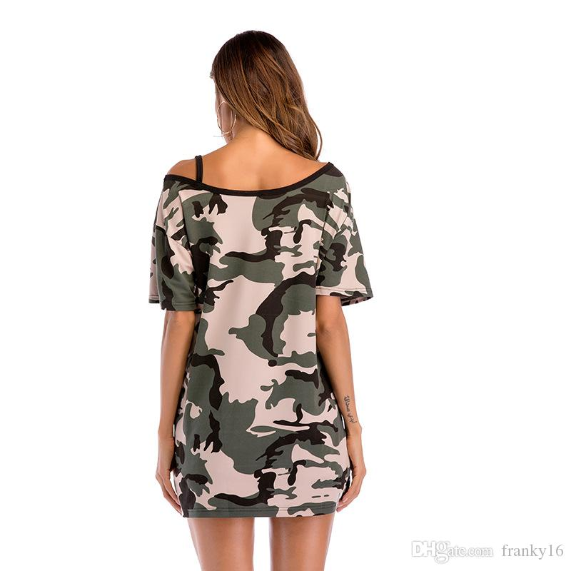 2018 Women's T Shirt Camouflage Off-shoulder Mid Long Short Sleeve T-shirt Female Loose Top Tees Clothing