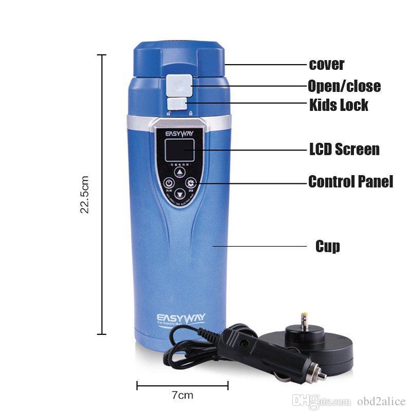 Tazza di riscaldamento auto portatile intelligente Temperatura regolabile Temperatura di auto bollente Tazza Display digitale Bollitore Accessorio per veicoli