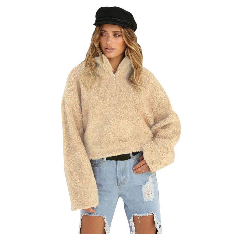 4cd688850ff 2019 Fashion Teddy Bear Hoodie Women Cropped Fluffy Hoodies Fleeces  Turtleneck Zipper Solid Color Oversized Teddy Jumper Sweatshirts From  Caicaijin07