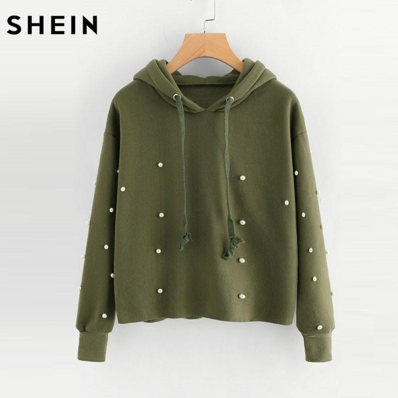 cd5a3c4c9dab 2019 SHEIN Women Pullovers Hoodie Pearl Beaded Raw Hem Long Sleeve Chrismas  Pullovers Army Green Autumn Casual Sweatshirts From Movearound, $54.64 |  DHgate.