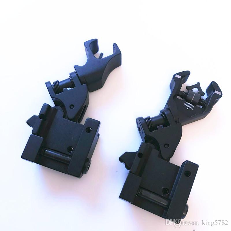 Tactical 45 Degree Offset Foldable Back Up Iron Sight Set Front Rear Folding Sights
