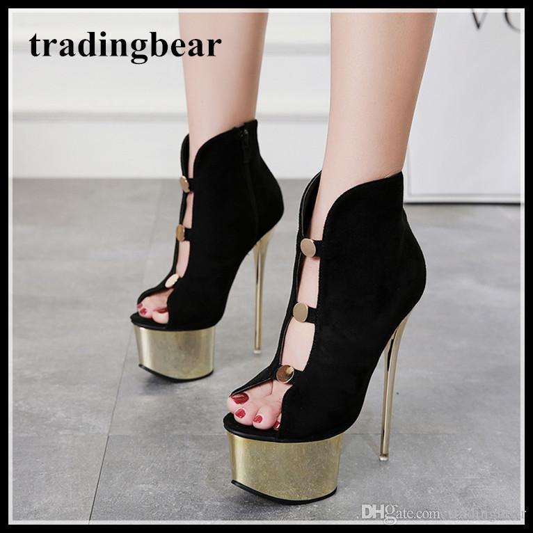 d21b811833e 16cm Sexy Black Gold Platform Peep Toe Ankle Bootie Designer High Heels  Shoes Luxury Pumps Women Size 34 To 40 Loafer Shoes Shoes Uk From  Tradingbear