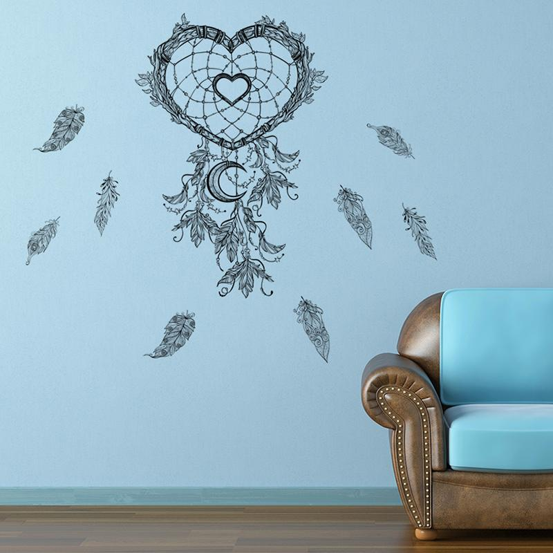 flying feathers dream catcher wall stickers for living room home