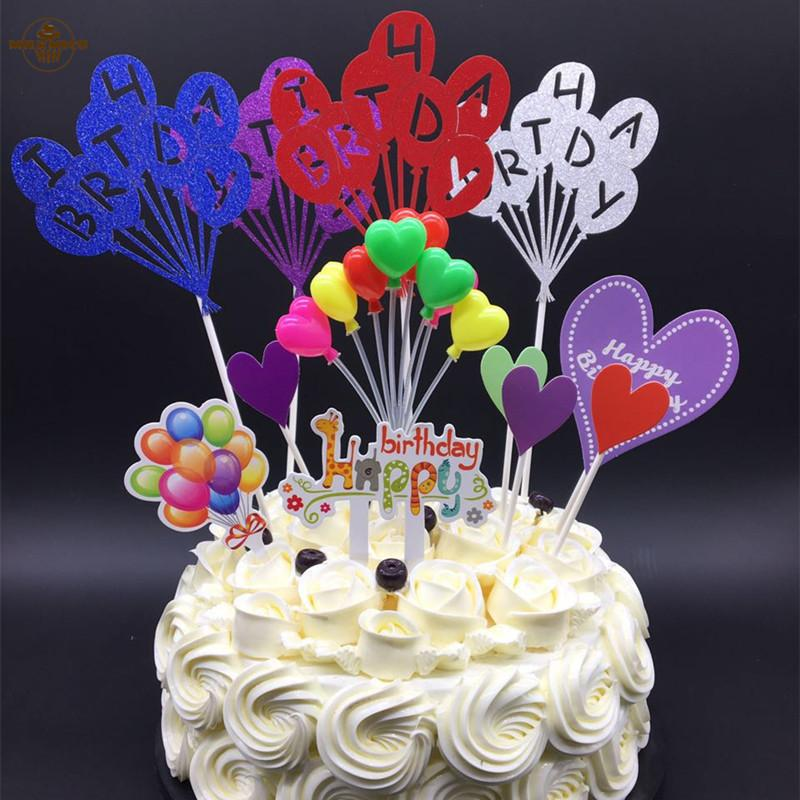 2019 Balloon Series Birthday Theme Cupcake Pick Kids Happy Toppers For Party Wedding Decoration Cake Topper Supplies From Baolv