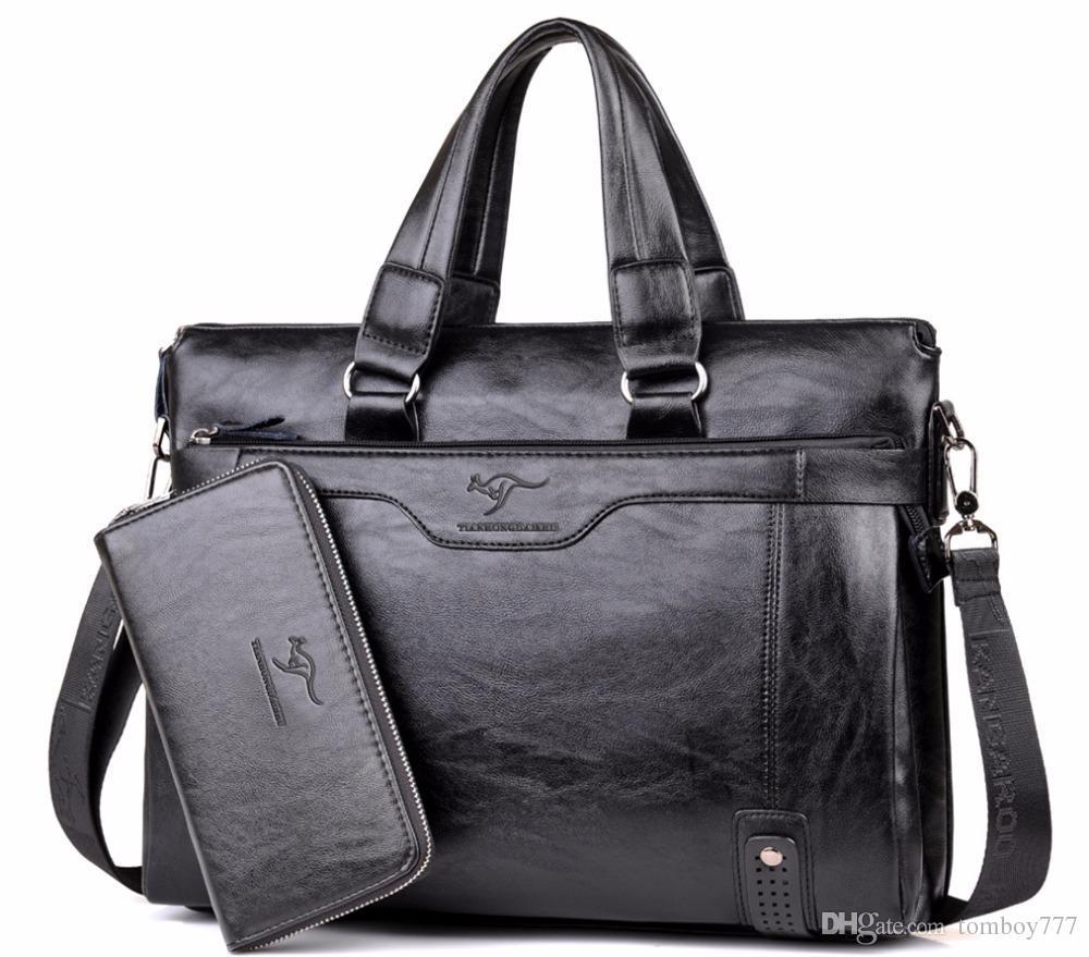 09c4d5943484 2018 Men Casual Briefcase Business Shoulder Leather Messenger Bags ...
