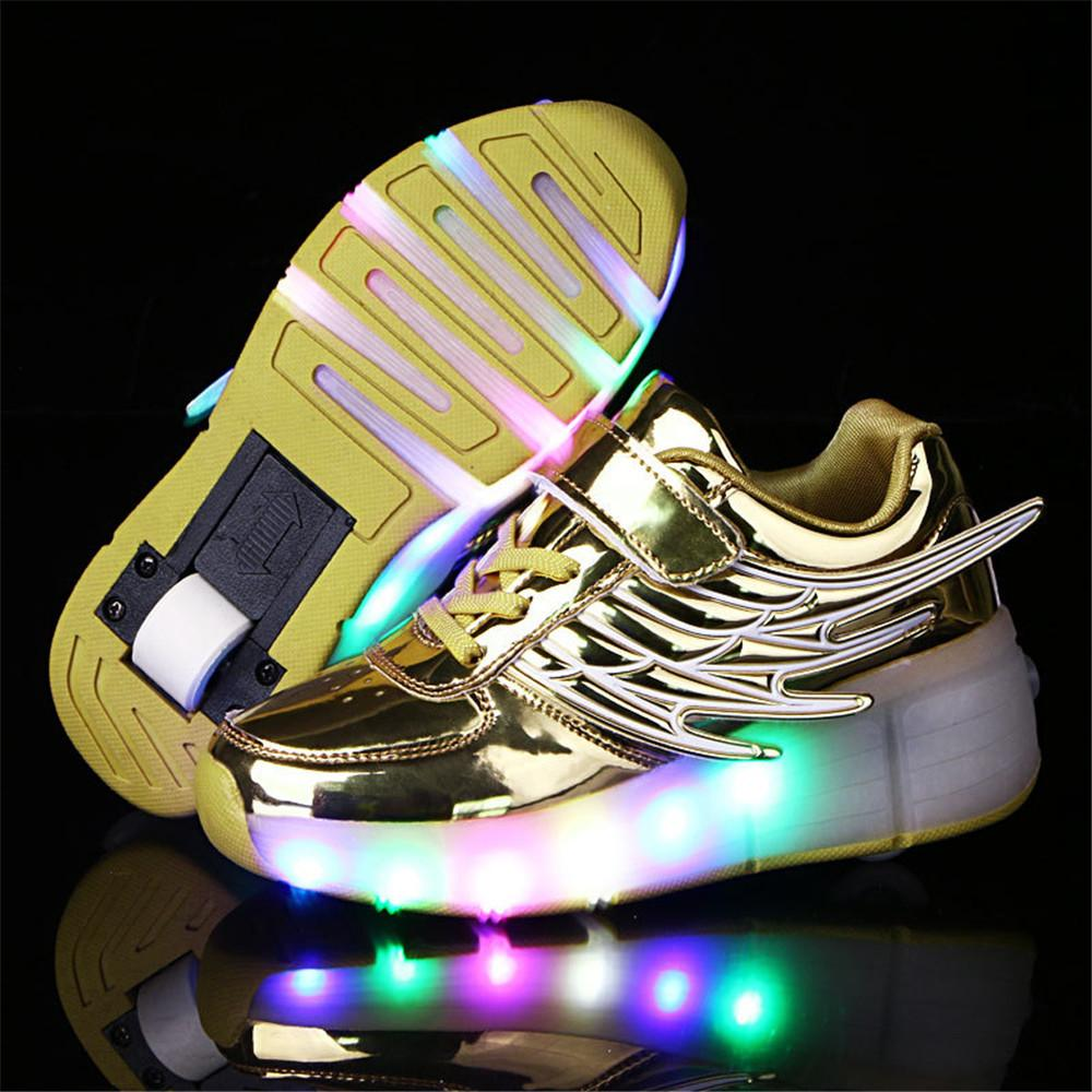 2018 Heelys Boy Roller Skate Sneakers Kids Shoes With Wheel Shoe Negro  Zapatillas Con Ruedas Black Chaussure LED Size 16.8 23cm Sports Shoes For  Girl Dress ... 904a9b598