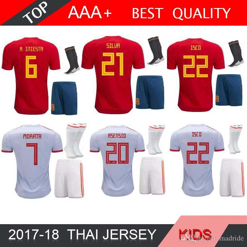 f6f2ca38e99 2019 Spain Kids Kit Home Away Soccer Jersey 2018 World Cup Spain Home  Soccer Shirt 2018 MORATA ISCO ASENSIO RAMOS PIQUE Football Sock Sales From  Madride