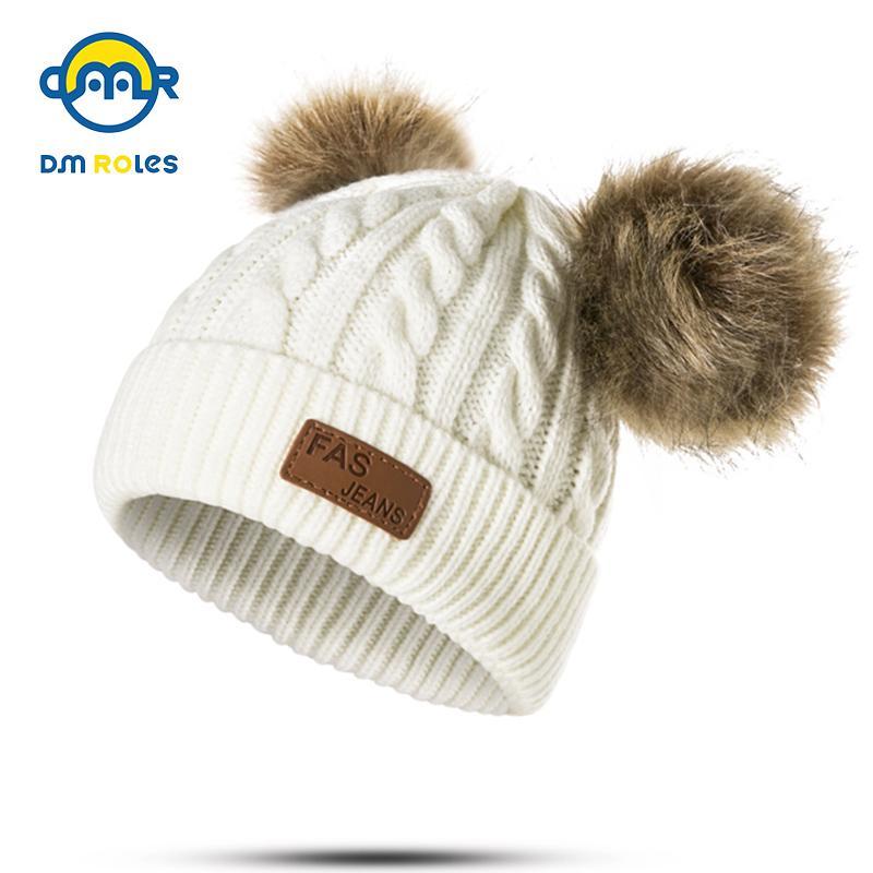 Compre DMROLES Moda Bebé Pom Poms Sombrero Niños Gorros De Invierno ...