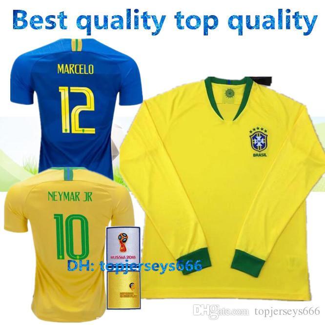 5fc6e3bc3 ... brasil neymar jr soccer jerseys long sleeve aaa 2018 world cup soccer  jersey dani alves g