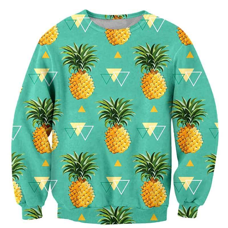 Hoodies AQ Fruit Pineapple Mens Print Pullover Hoodie Hooded Sweetshirt Athleisure