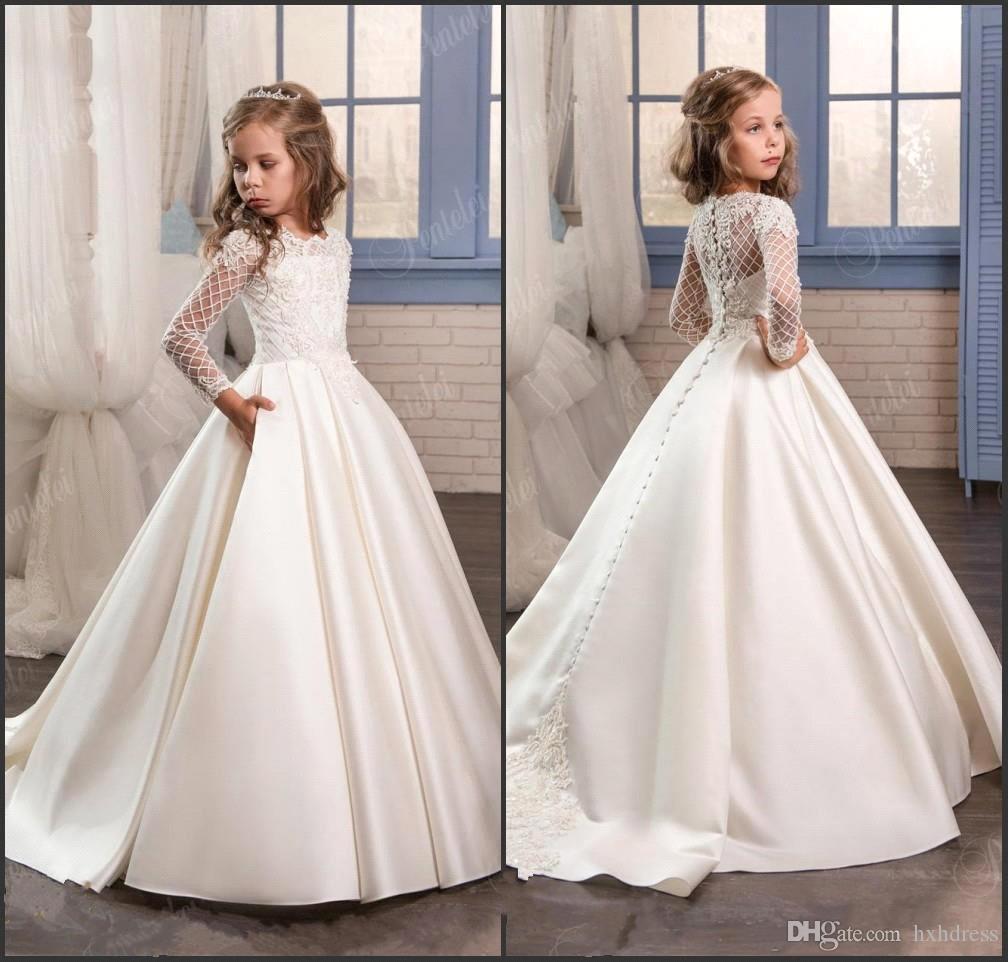 Princesse Blanc Dentelle Fleur Fille Robes 2019 New Sheer Manches Longues Première Communion D'anniversaire Robes De Fête Filles Pageant Robe Pour Les Mariages