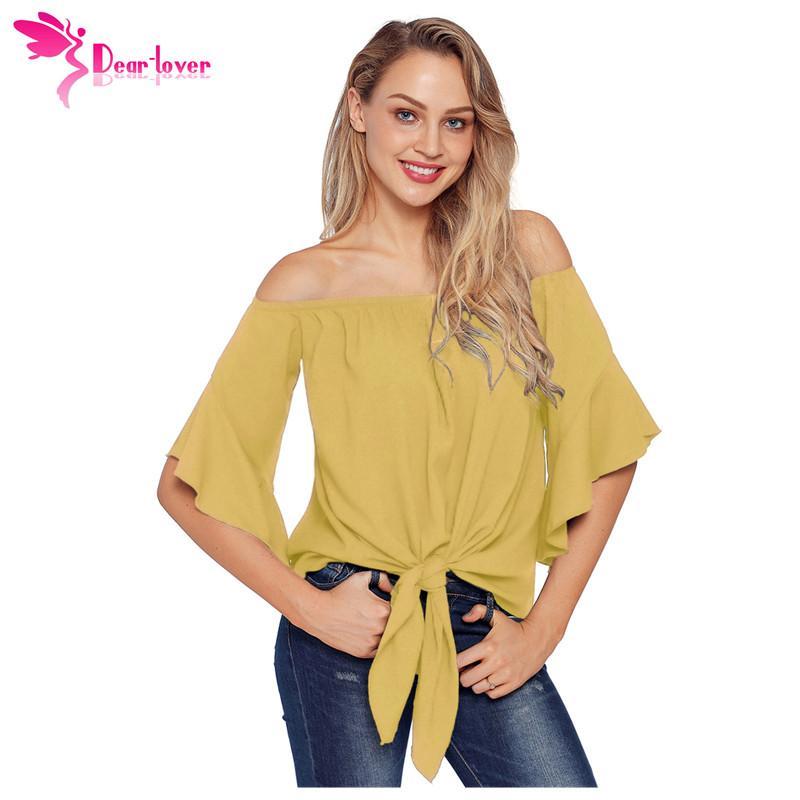 d01b5ab13896 Estimado Amante Sexy Off Hombro Mujeres Blusa Ropa Otoño Amarillo Sin  tirantes Nudo Frente 3/4 Manga Camisa Top Mujer Blusas LC251201