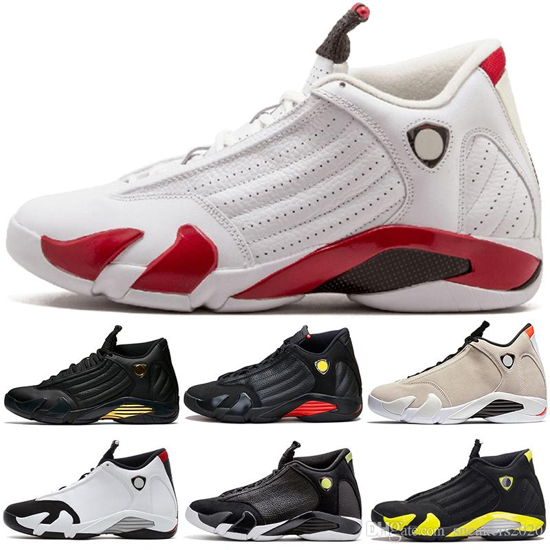 3a05227d27eb6f 2019 Men 14 14s Basketball Shoes Desert Sand DMP The Last Shot Thunder Black  Toe Candy Cane Red Suede Trainer Sport Sneaker Discount Online From ...