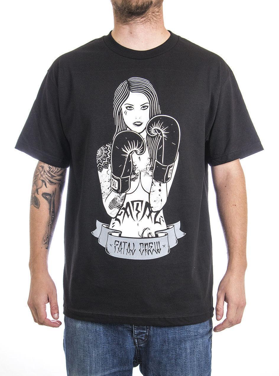 Compre Camiseta De Impressão Online Top O Pescoço Curto Manga Anel Da Menina  Dos Homens Preto De Manga Curta Tatuado Garota Pinup T Shirt T Camisa Para  ... 777fe887d880e