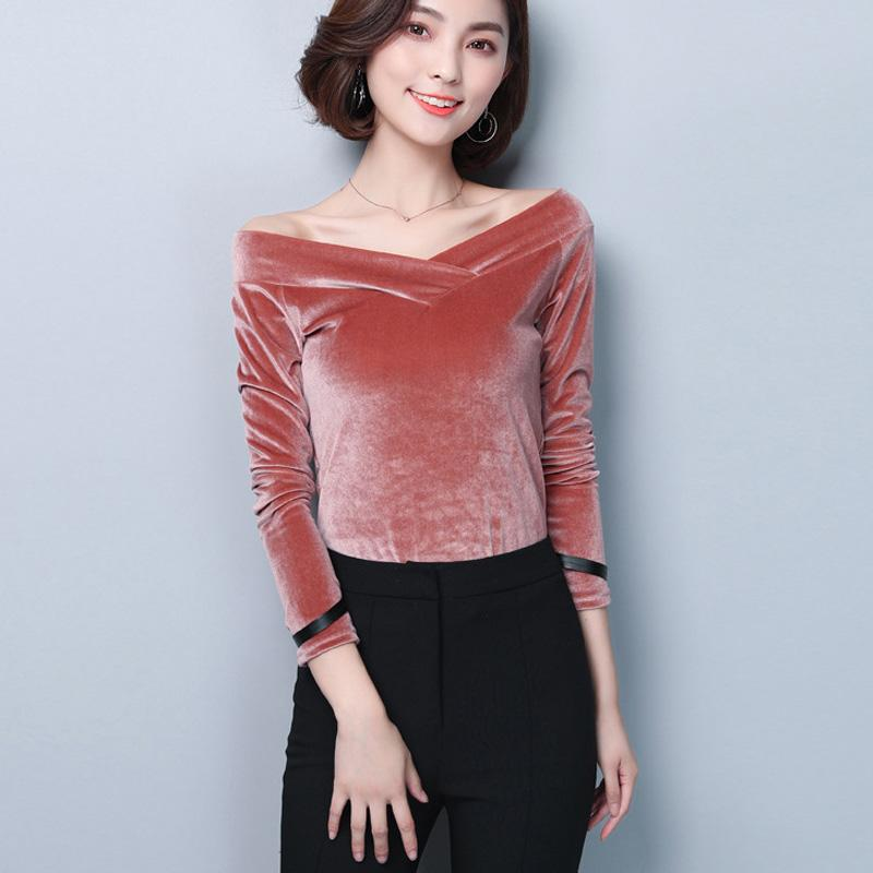 f56e107c215ddc 2019 Off Shoulder Velvet Blouse Women 2018 Autumn New Arrivals Long Sleeve  Shirts Slim Fit Streetwear Womens Tops And Blouses Pink From Edward03, ...