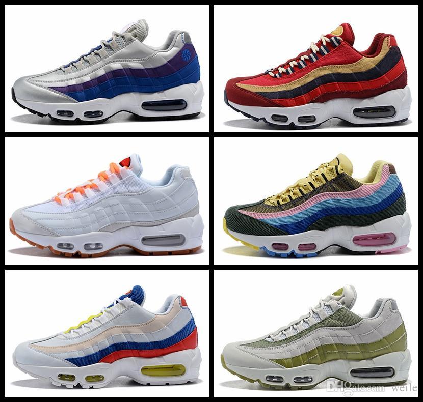 best service 5f095 7c098 2018 Womens Men Zapatos Para Correr Nuevo 95 Sean Wotherspoon X 95 TT Wmns  Zapato 95s Red Velvet Rainbow Mutil Colorido Para Hombre Zapatos Zapatillas  Por ...